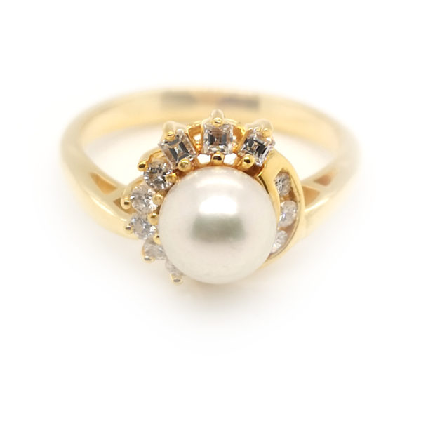 14K Yellow Gold Diamond Pearl Ring
