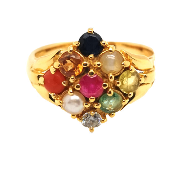22K Yellow Gold Coloured Gem Diamond Ring