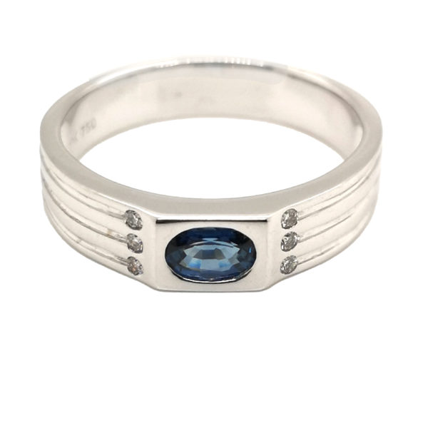 18K White Gold Blue Sapphire Diamond Men's Ring