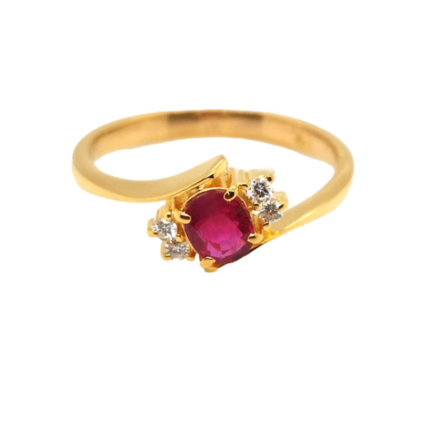 22K Yellow Gold Ruby Diamond Ring