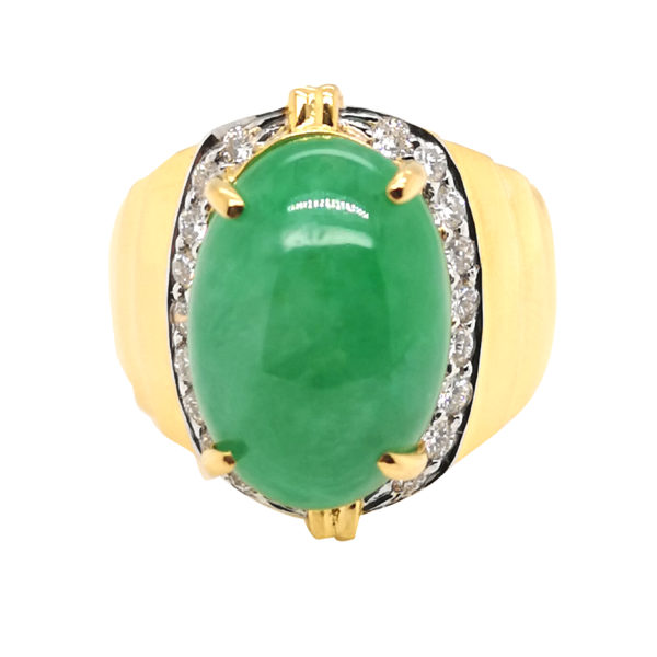 20K Yellow Gold Jade Diamond Two Tone Ring