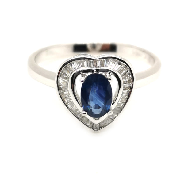 18K White Gold Blue Sapphire Diamond Ring