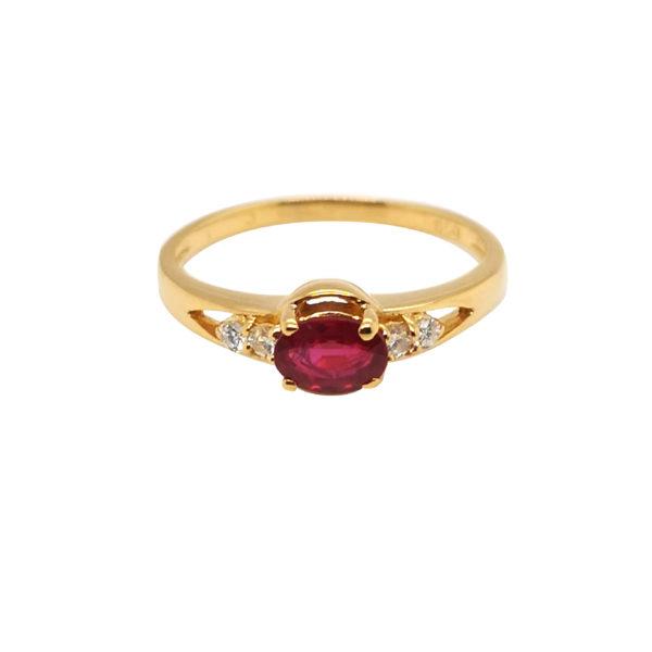20K Yellow Gold Ruby Diamond Ring