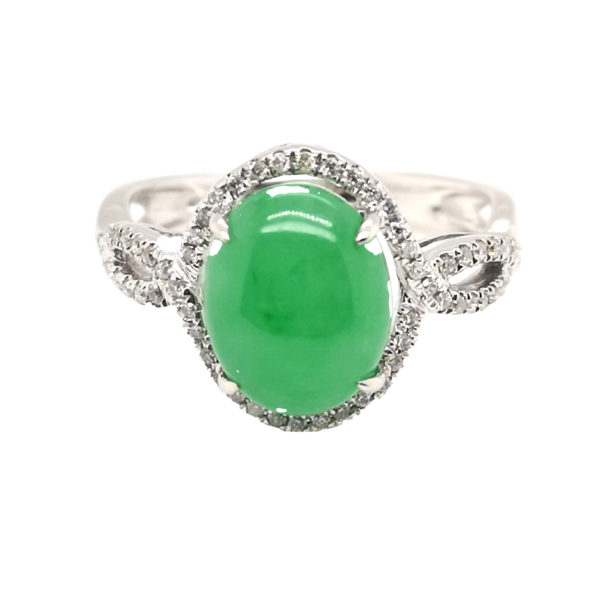18K White Gold Jade Diamond Ring