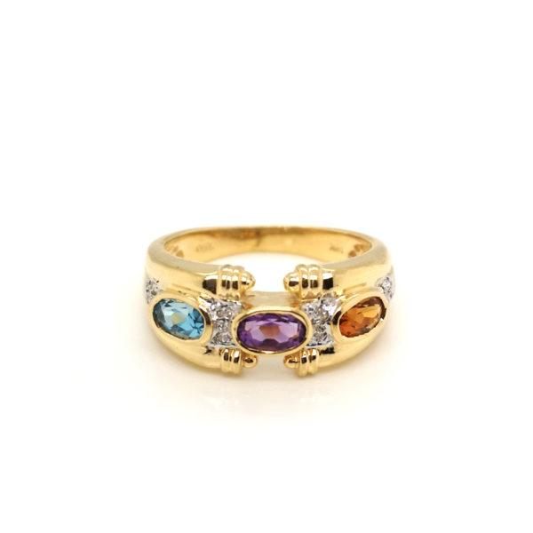 18K Yellow Gold Diamond Semi Precious Stones Ring