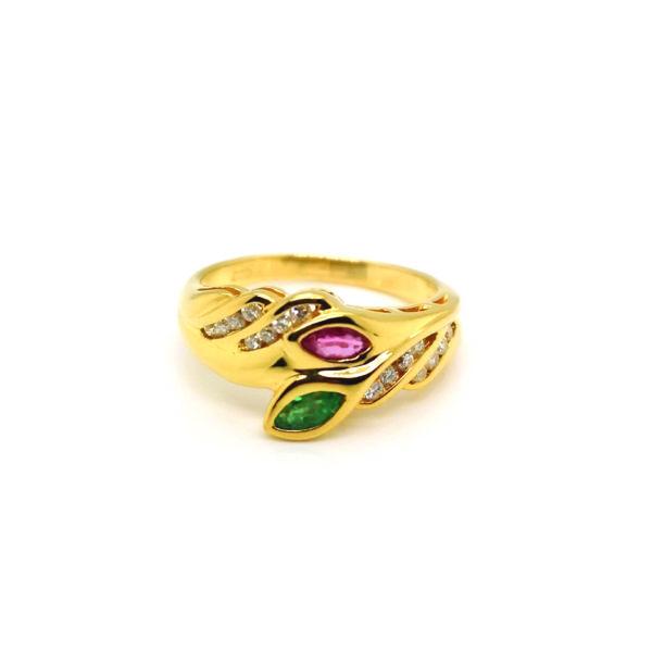 20K Yellow Gold Coloured Gem Diamond Ring