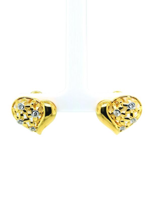 18K Yellow Gold Diamond Two Tone Earstud