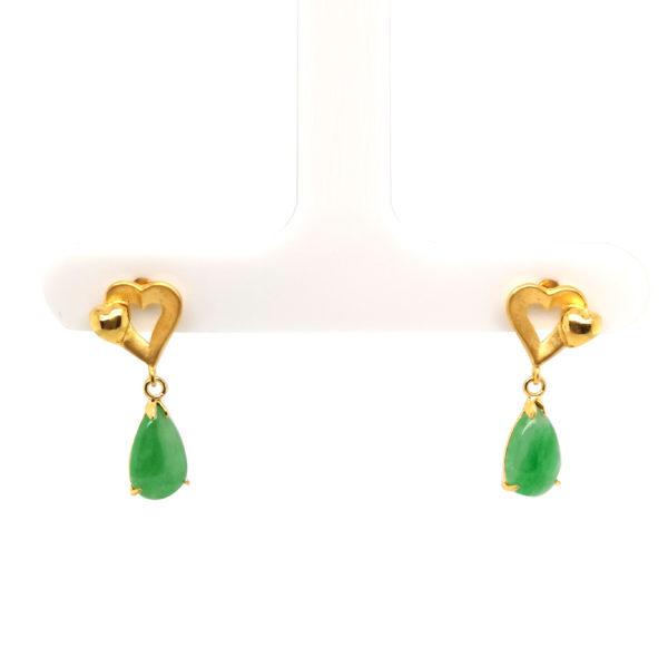 20K Yellow Gold Jade Earring