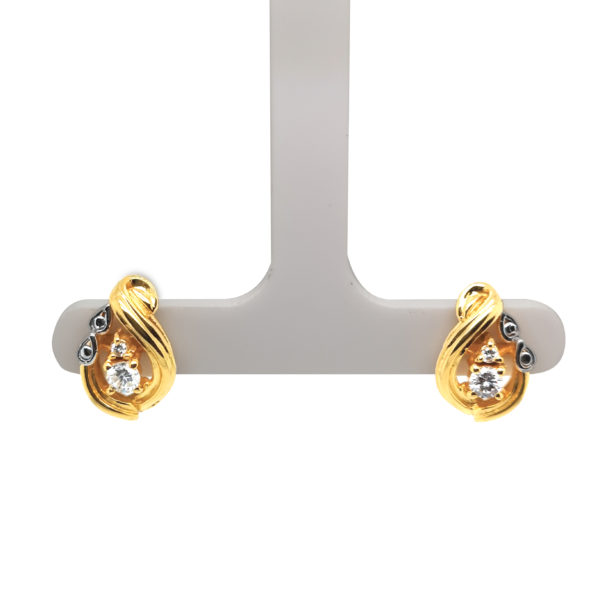 20K Yellow Gold Diamond Two Tone Earstud