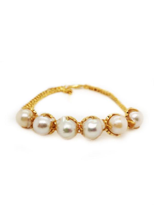 20K Yellow Gold Pearl Bracelet