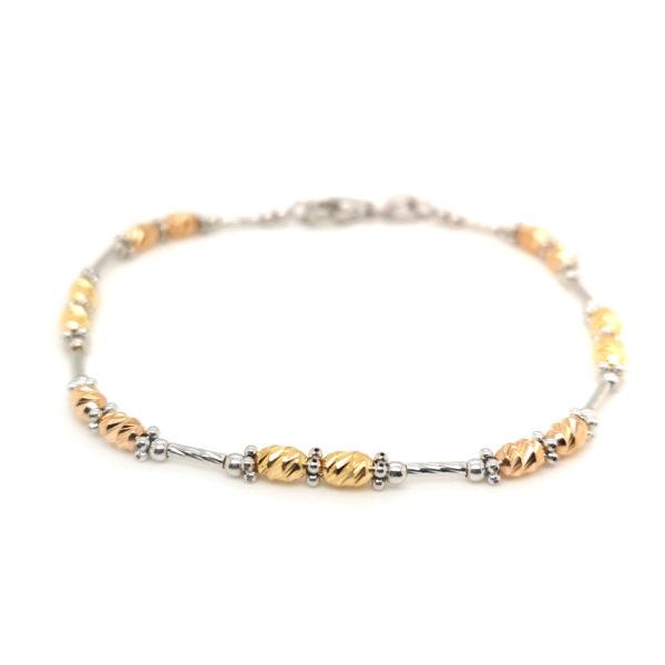 18K White/Yellow/Rose Gold Bracelet