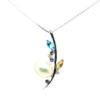 18K White Gold Pearl/Semi Precious Stone/Diamond Pendant