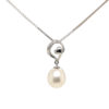 10K White Gold Pearl Diamond Pendant