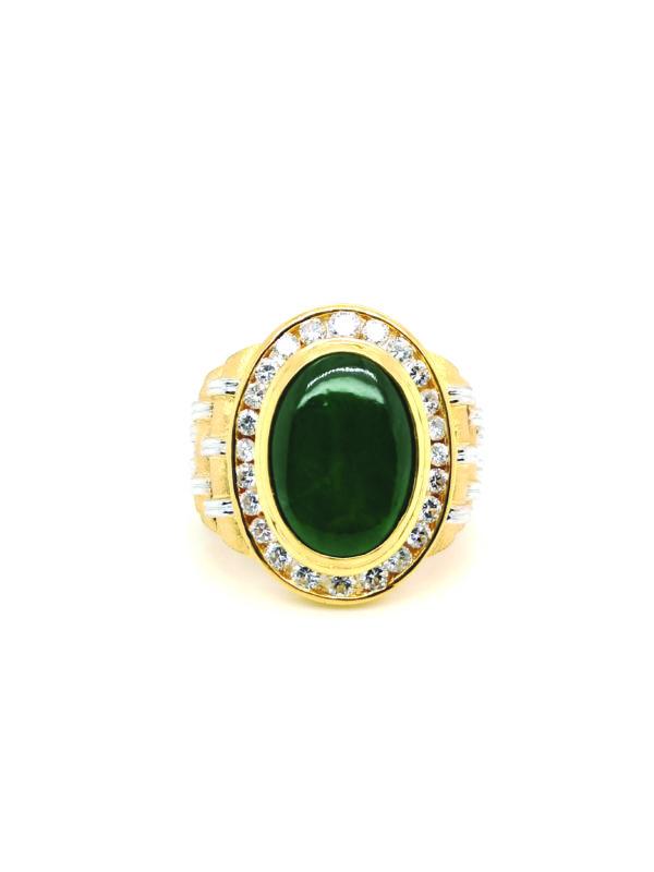 20K Yellow Gold Jade Diamond Ring