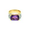 18K Yellow Gold Amethyst Diamond Ring