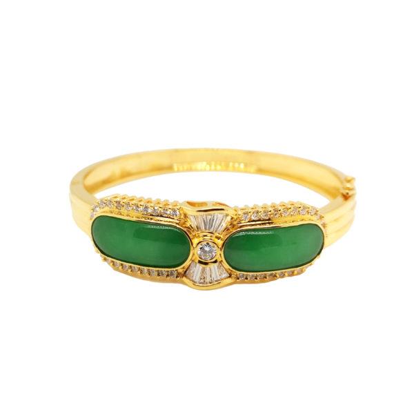 20K Yellow Gold Diamond Jade Bangle