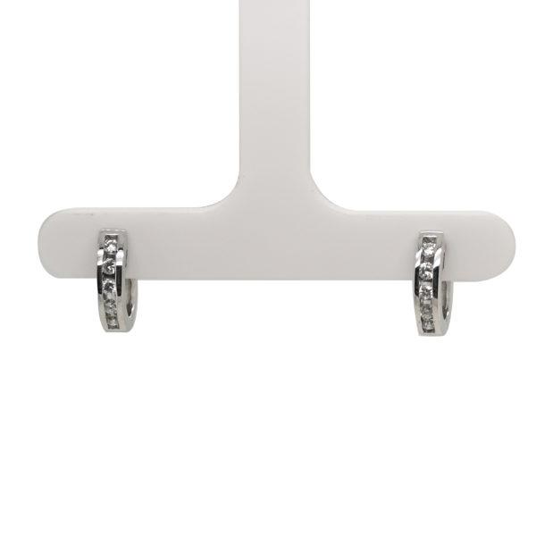 18K White Gold Diamond Loop Earring