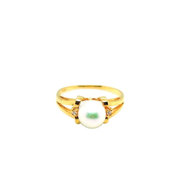 20K Yellow Gold Diamond Pearl Ring