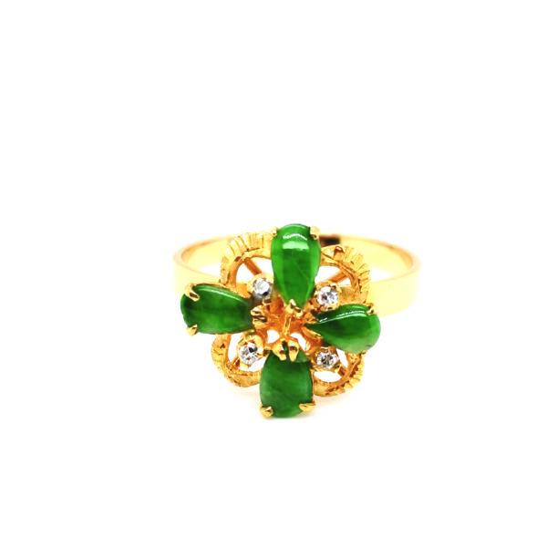 22K Yellow Gold Jade Diamond Ring