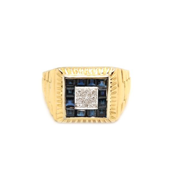 14K Yellow Gold Blue Sapphire Diamond Ring