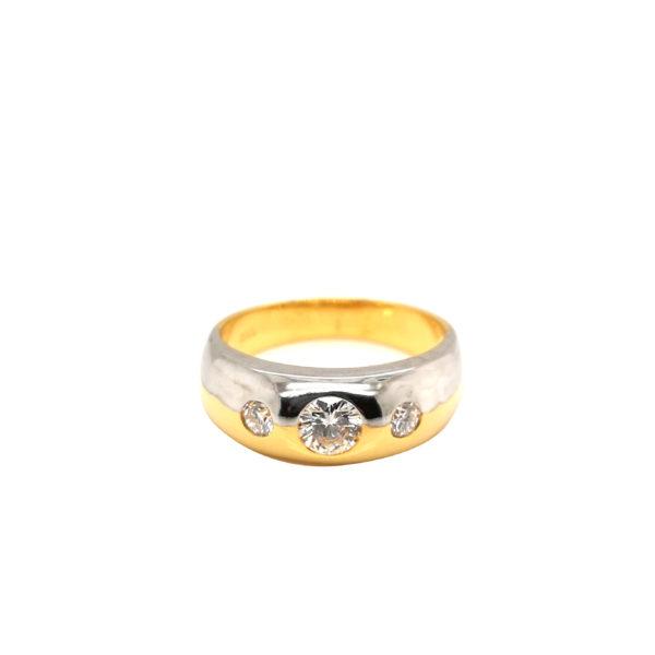 20K Yellow/White Gold Diamond Ring
