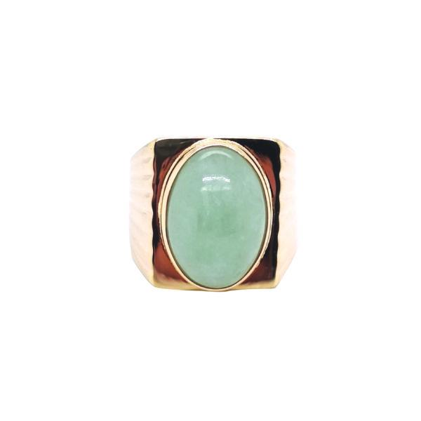 9K Yellow Gold Jade Ring