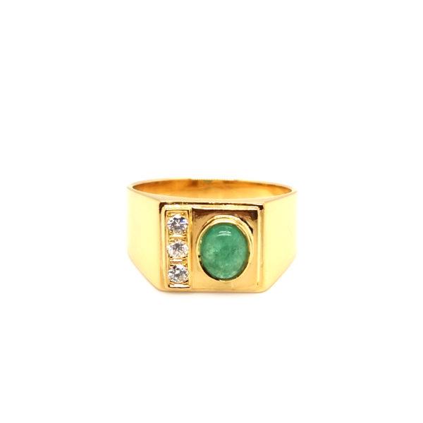 22K Yellow Gold Diamond Emerald Ring