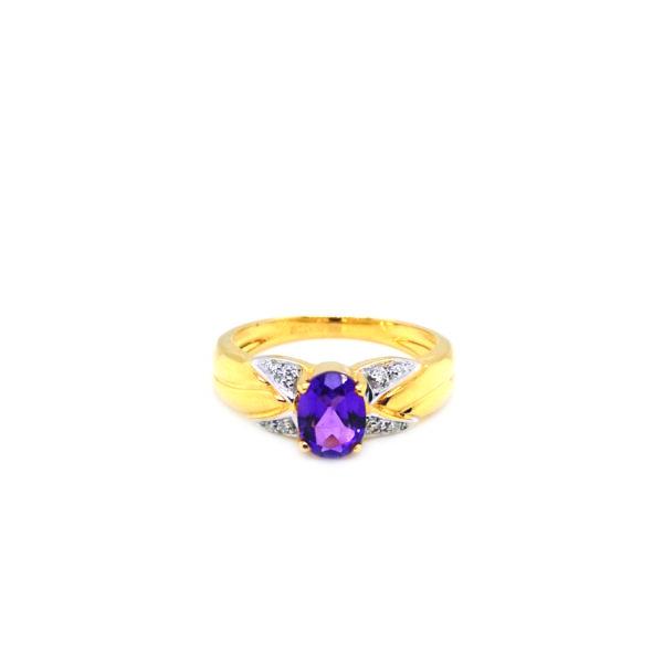 20K Yellow Gold Amethyst Diamond Ring