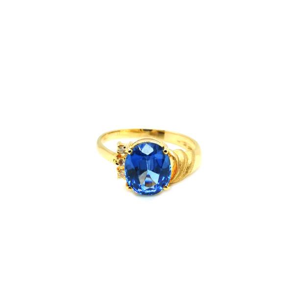 20K Yellow Gold Diamond Blue Topaz Ring