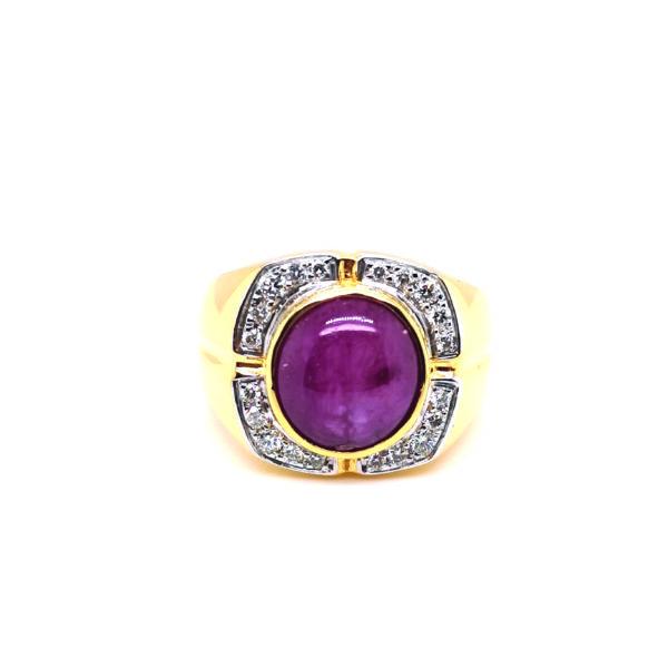 22K Yellow Gold Ruby Diamond Ring