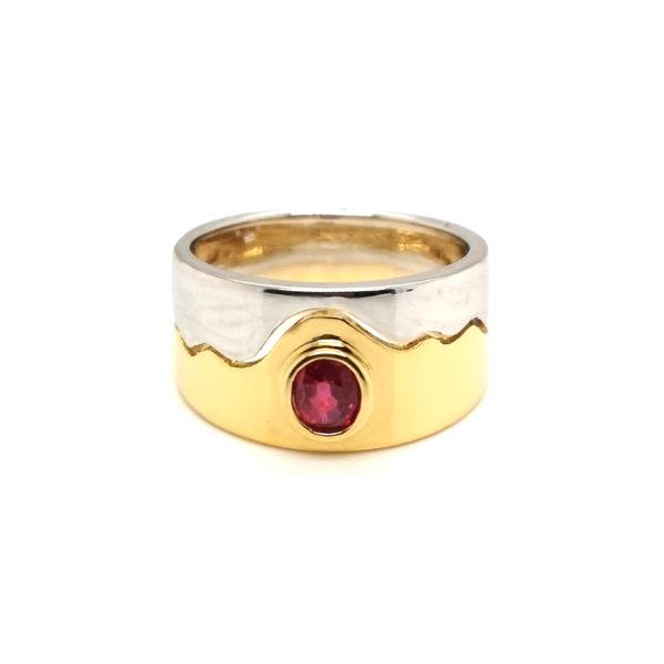 18K Yellow/White Gold Ruby Ring
