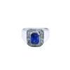 9K White Gold Blue Sapphire Diamond Ring