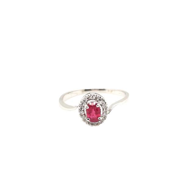 18K White Gold Ruby Diamond Ring
