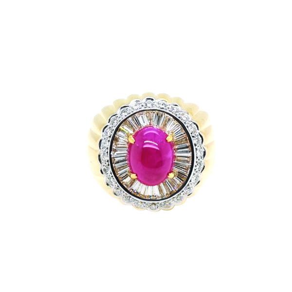 18K Yellow Gold Diamond Ruby Ring