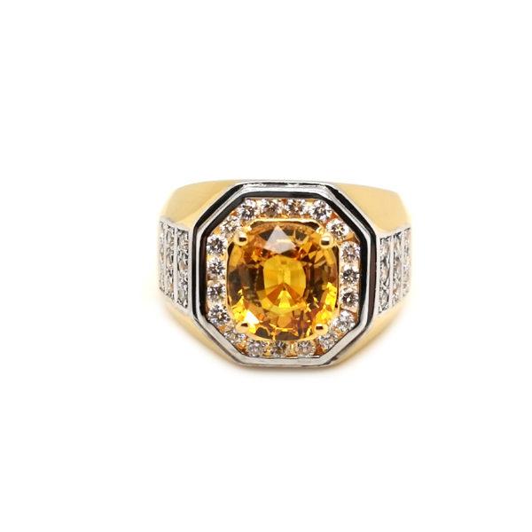 22K Yellow Gold Yellow Sapphire Diamond Ring