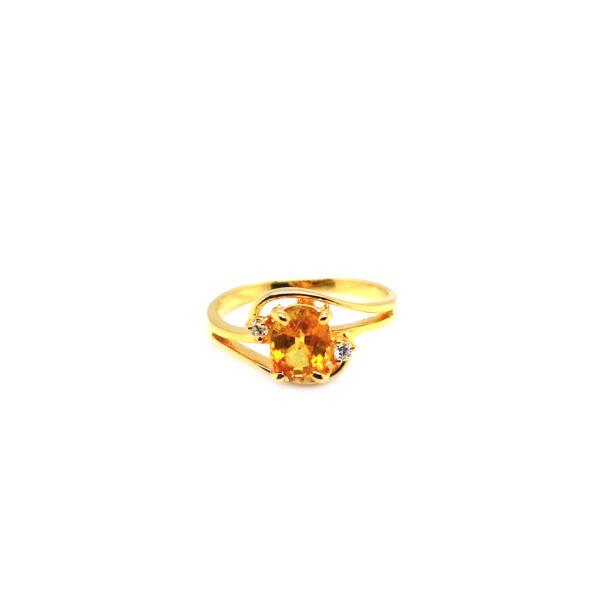 20K Yellow Gold Diamond Yellow Sapphire Ring