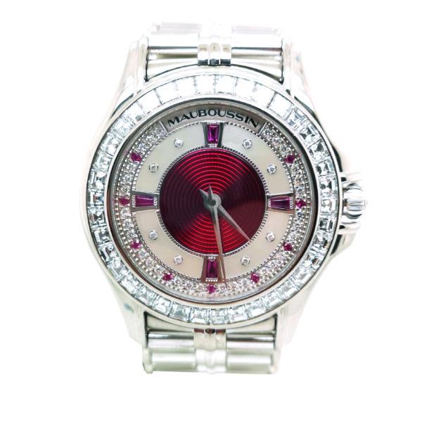 Mauboussin Diamond Ruby 18K White Gold Watch