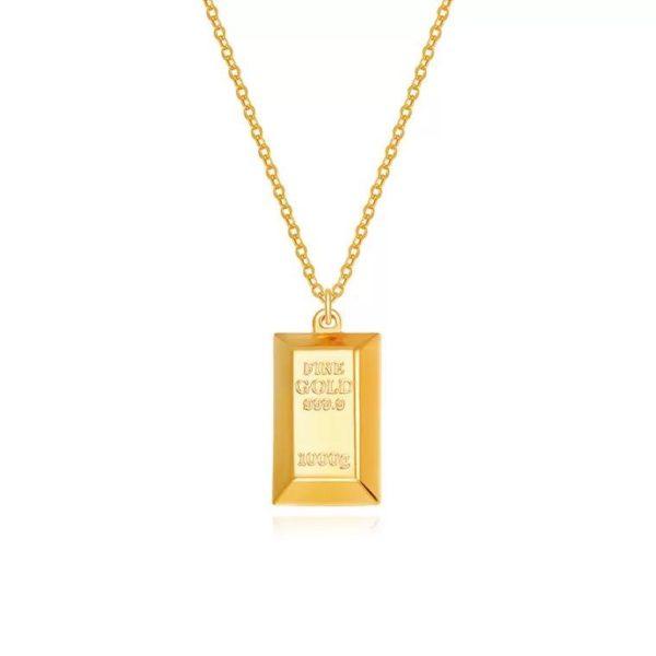 Gold Bar 999 Pure Gold Pendant   暴富金砖 2