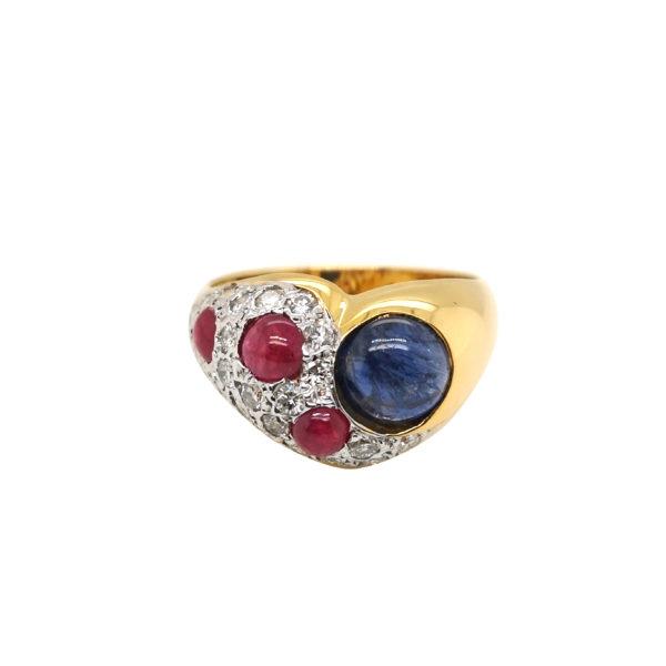 18K Yellow Gold Ruby/Blue Sapphire Diamond Ring