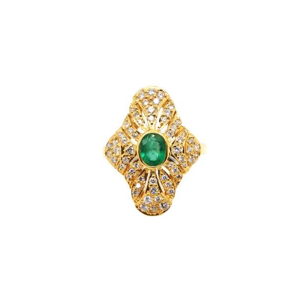 18K Yellow Gold Emerald Diamond Ring
