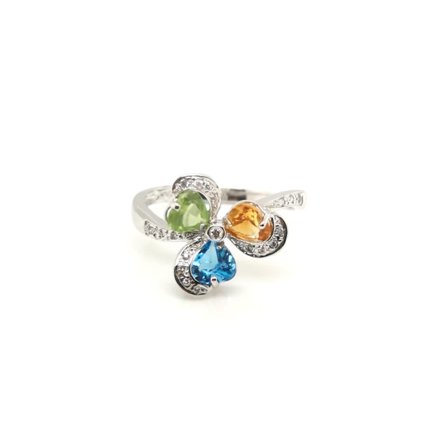 18K White Gold Coloured Gem Diamond Ring