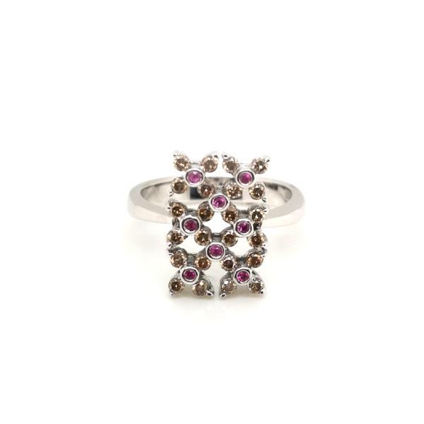 18K White Gold Brown Diamond Pink Sapphire Ring