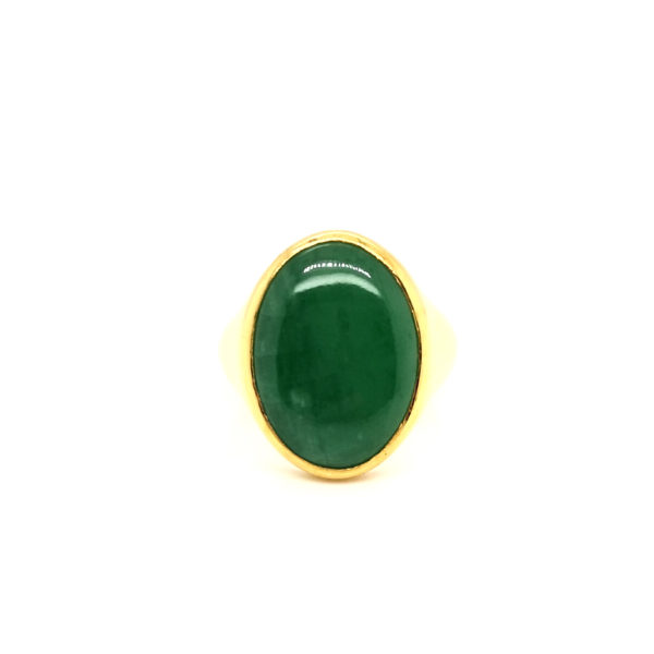 24K Yellow Gold Jade Ring
