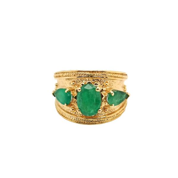 14K Yellow Gold Emerald Semi Precious Stone Ring