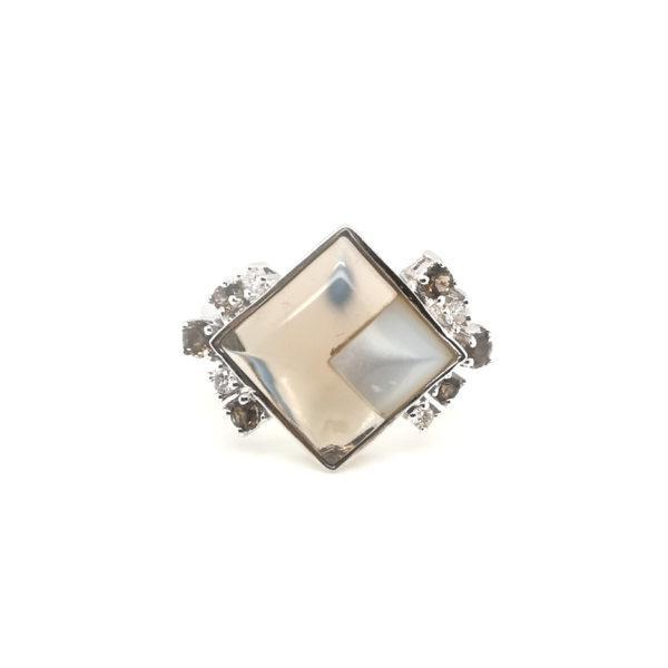 18K White Gold Stone Diamond Ring