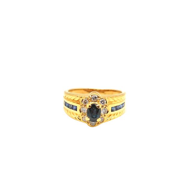 20K Yellow Gold Blue Sapphire Diamond Ring