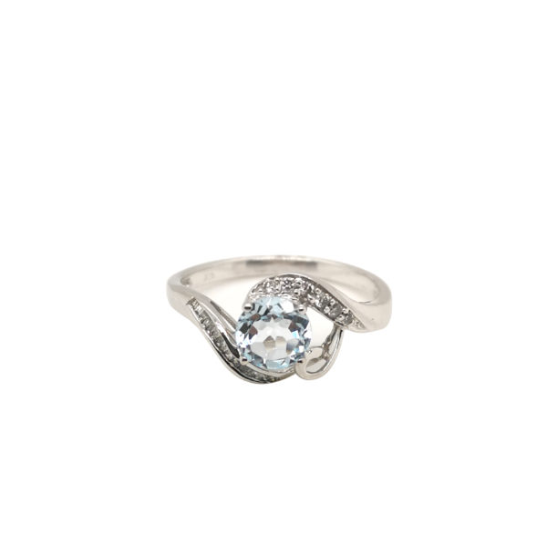 9K White Gold Aquamarine Diamond Ring