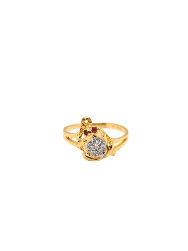 20K Yellow Gold Diamond Ruby Ring