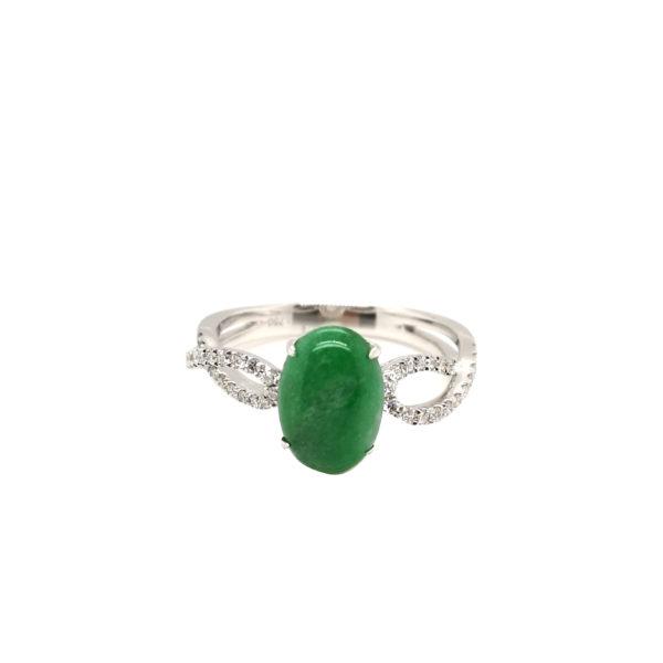 18K White Gold Jade Diamond Ring