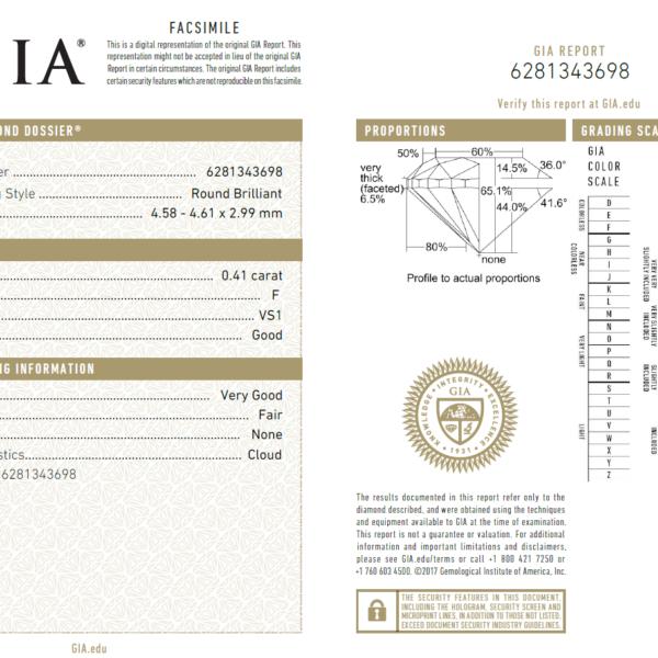 0.41 Carat Diamond (Gemological Institute of America)